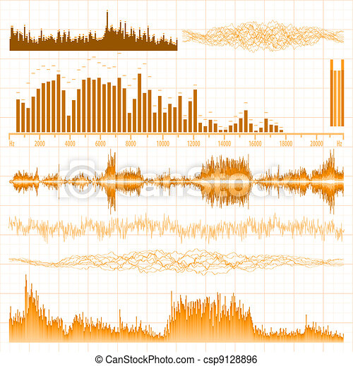 Sound waves set. Music orange background. EPS 8 - csp9128896