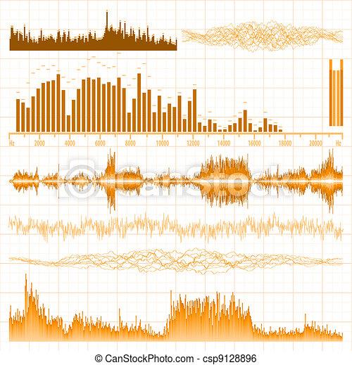 Sound waves set. Music orange background. EPS 8 - csp9128896