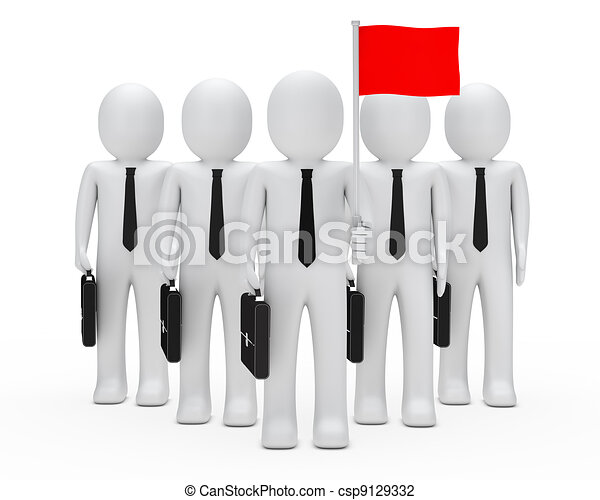 business men team hold flag - csp9129332