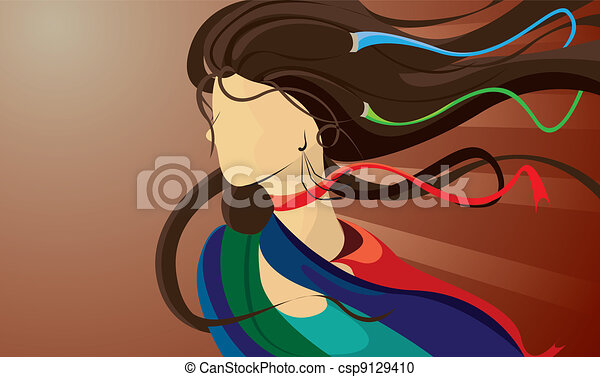 image of a woman with flowing hair - csp9129410