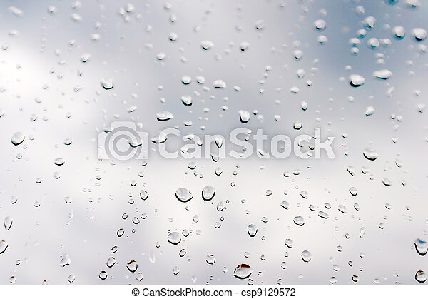 Drops of rain on the window (glass) - csp9129572