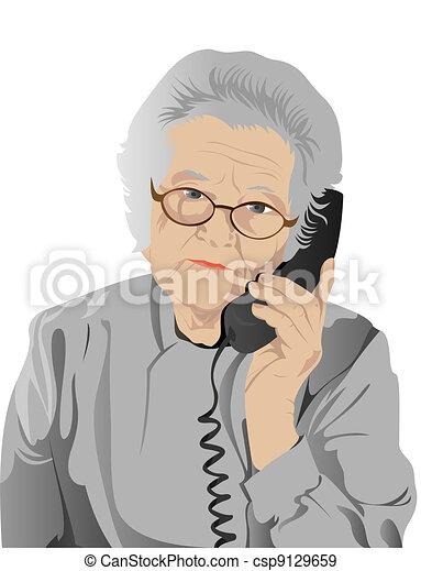 portrait of elderly woman - csp9129659
