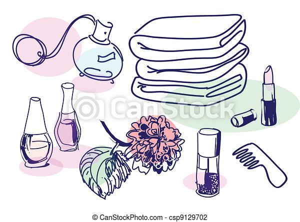 Drawing of vintage cosmetics set - csp9129702