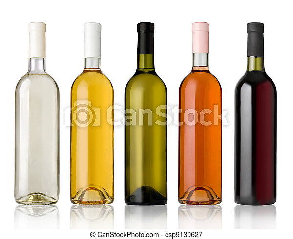 Set of white, rose, and red wine bottles. - csp9130627