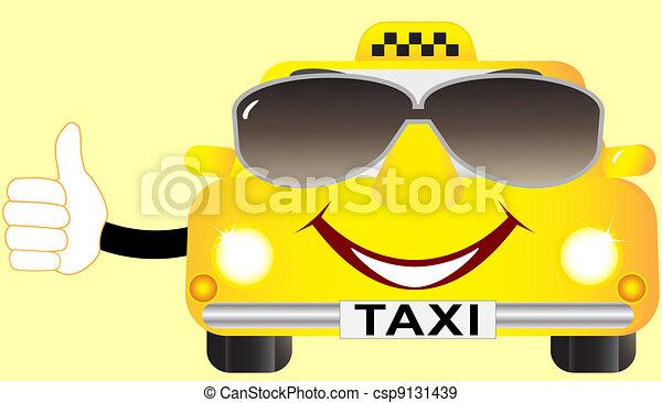 cartoon cab in sunglasses - csp9131439