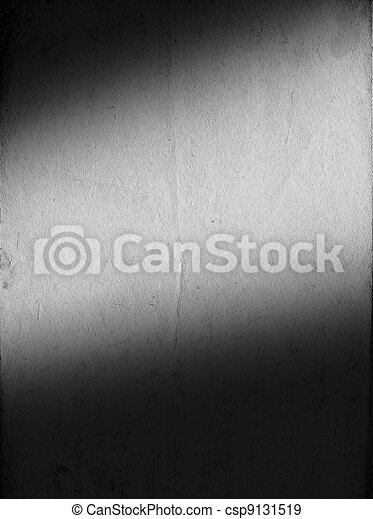 Vintage b&w paper with soft-lighted area for your text. Vertical orient. - csp9131519