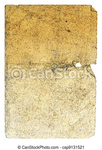 Vintage paper with turned corner, holes and hard damages. Mustard-yellow color. Vertical orient. - csp9131521