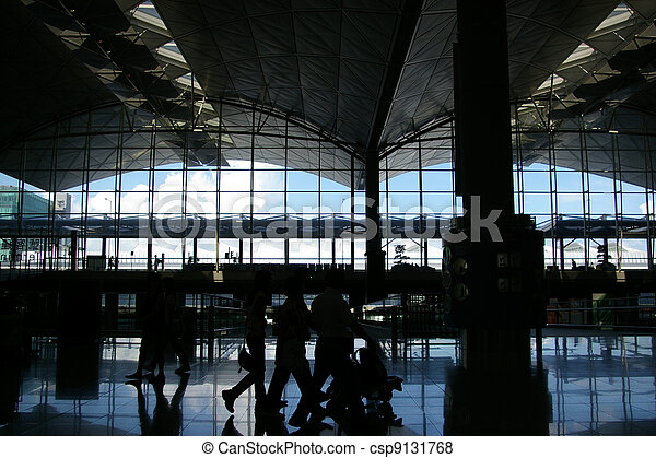 Airport with moving passengers - csp9131768