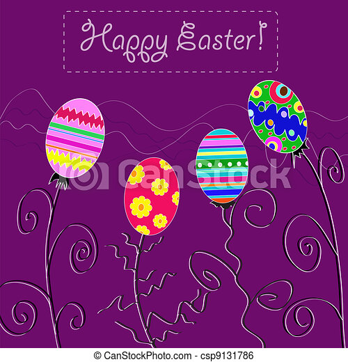 background with holiday Easter eggs - csp9131786