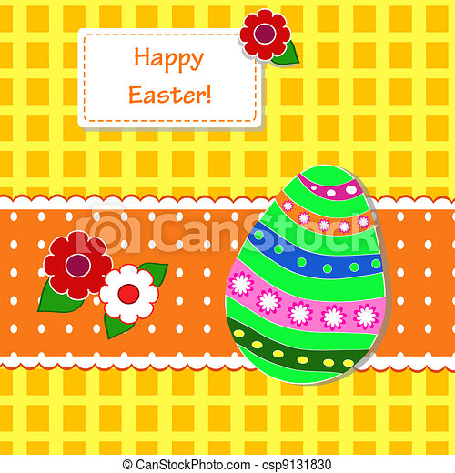 background with holiday Easter eggs - csp9131830