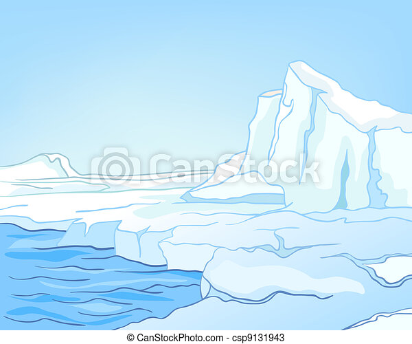 Cartoon Nature Landscape Arctic - csp9131943