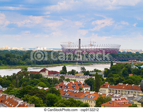 Panorama of Warsaw in Poland with National Stadium - csp9132212