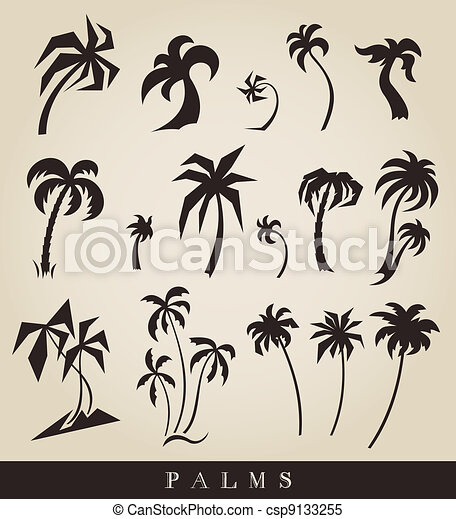 vector silhouettes of palm trees - csp9133255