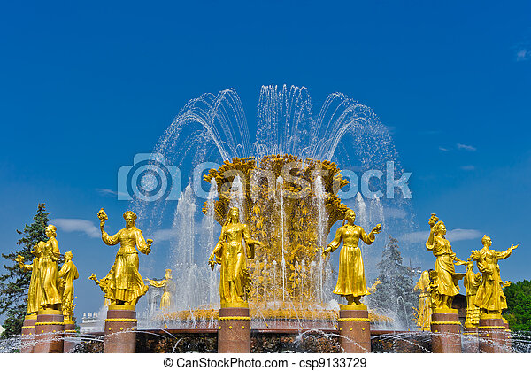 Fountain Friendship of nations in Moscow, Russia, Europe - csp9133729