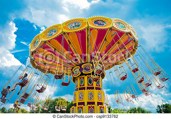 Colorful carousel in Moscow, Russia, East Europe - csp9133762