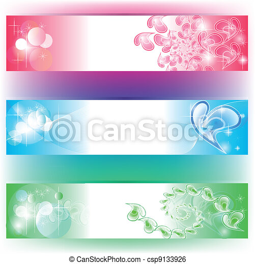3 colours banners with hearts composition - csp9133926