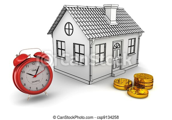 Model home, red alarm clock, stack of gold dollar coins. 3d rendering - csp9134258