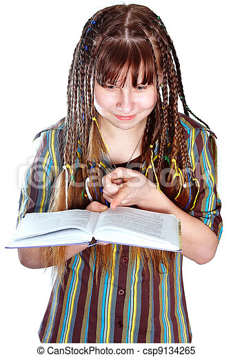 The teenage girl with plaits and the book - csp9134265