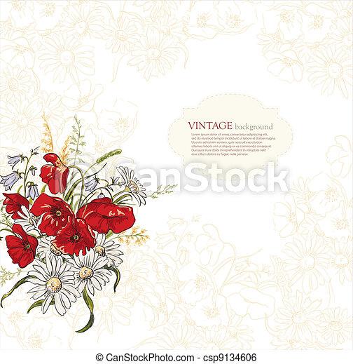 Elegance background with poppy flowers - csp9134606