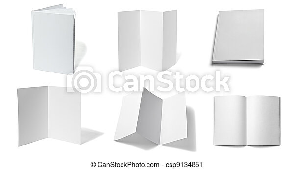 leaflet notebook textbook white blank paper template - csp9134851