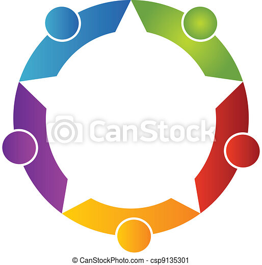 Teamwork five peoples logo - csp9135301