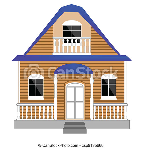 Small house on white background - csp9135668