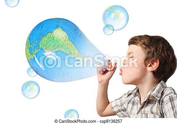 little caucasian boy blowing soap blue globe bubbles on white background collage - csp9136257
