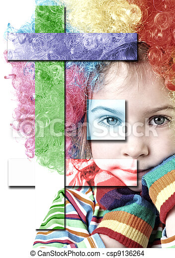 little girl in clown wig and multicolored gloves looking at camera, chin on hands, half body, isolated collage - csp9136264
