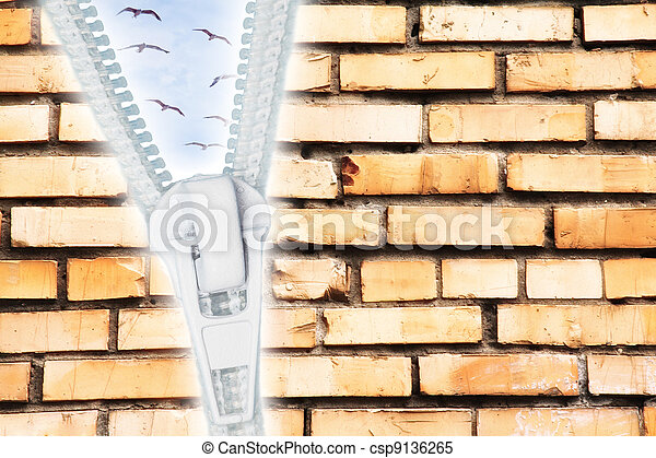 cracked brick wall with zipper open to sky with birds collage - csp9136265