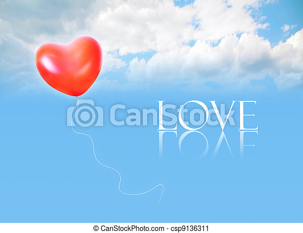 inflatable heart shape balloon in cloud sky and LOVE word collage - csp9136311