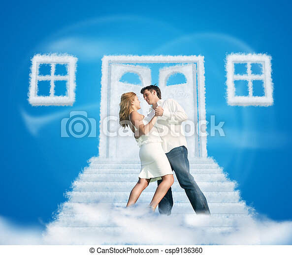 dancing pair on dream cloud door way and windows collage on blue - csp9136360
