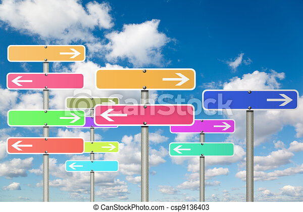 many signs with arrow on White, fluffy clouds in blue sky collage - csp9136403