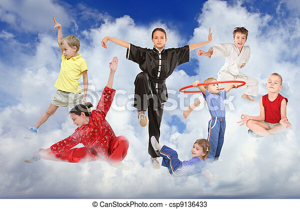 sport children on white clouds collage - csp9136433