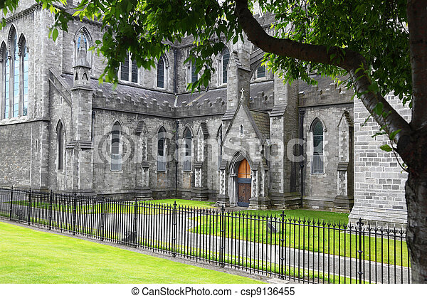 Green grass and black grating near St. Patrick's Cathedral in Dublin, Ireland - csp9136455