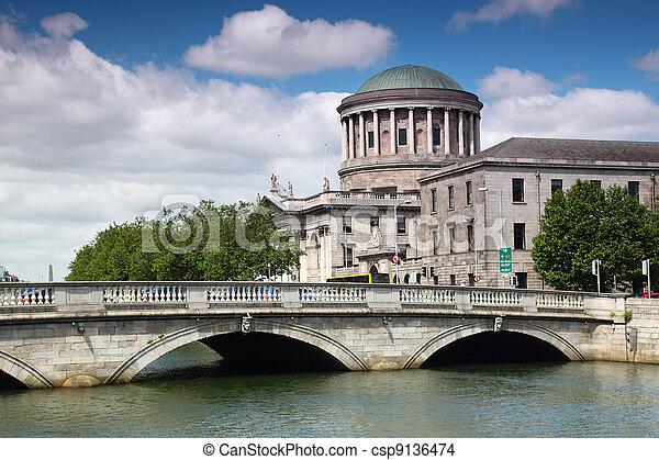 O'Donovan Rossa Bridge and Four Courts, river Liffey in Dublin, Ireland - csp9136474