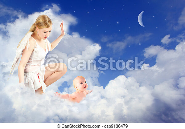 angel woman and baby in clouds collage - csp9136479