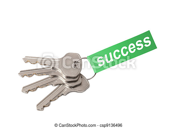 Four keys on ring with word SUCCESS collage - csp9136496
