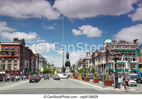 DUBLIN - JUNE 12: Spire of Dublin on June 12, 2010 in Dublin. Spire of Dublin is large, stainless steel, pin-like monument 121, 2 metres - csp9136629