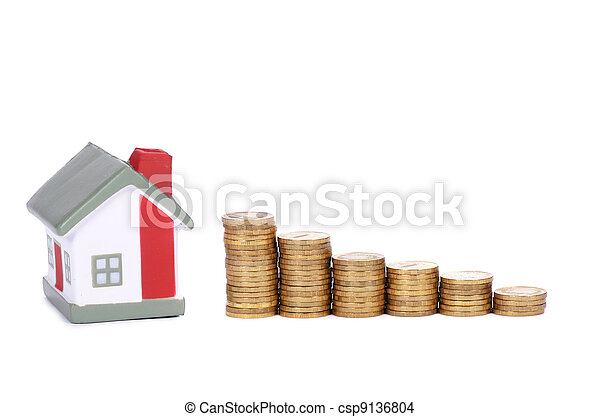 Toy small house and coins in the form of the diagram. concept - csp9136804
