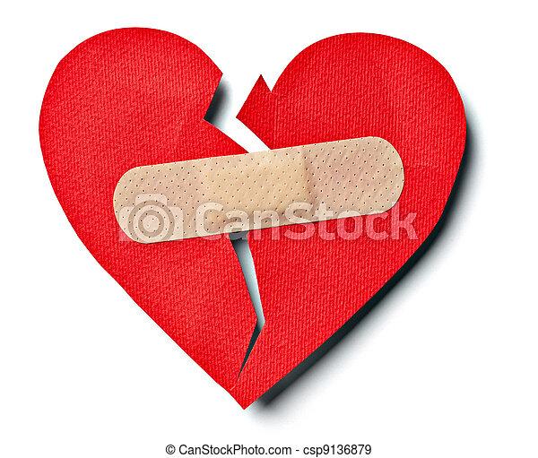 broken heart love relationship and plaster bandage - csp9136879