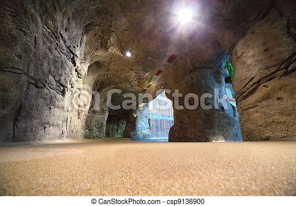 Artificial cave in waterpark with  waterfall - csp9136900