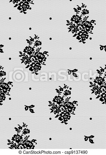 seamless background with black lace - csp9137490