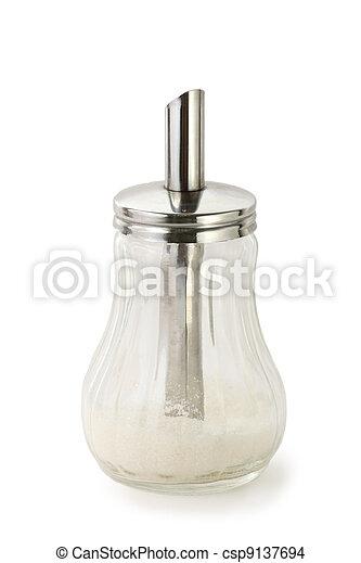 Sugar cellar on pure white background; seasoning for food preparation   - csp9137694