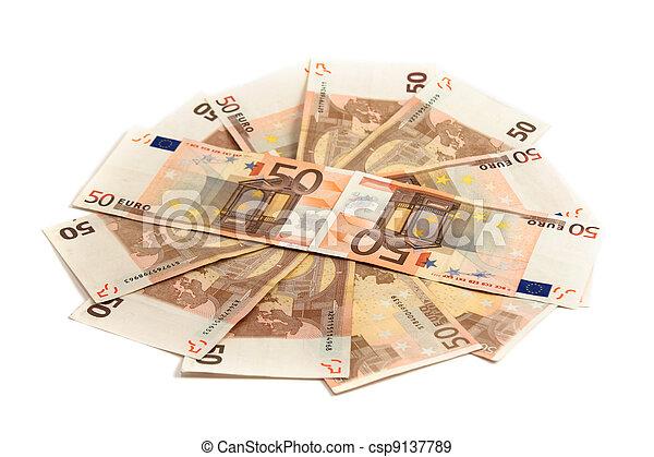 Monetary denominations lie on a circle  - csp9137789