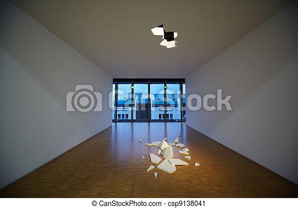 Broken ceiling. Art composition at Pompidou Center. - csp9138041