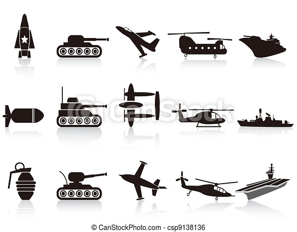 black war weapon icons set - csp9138136
