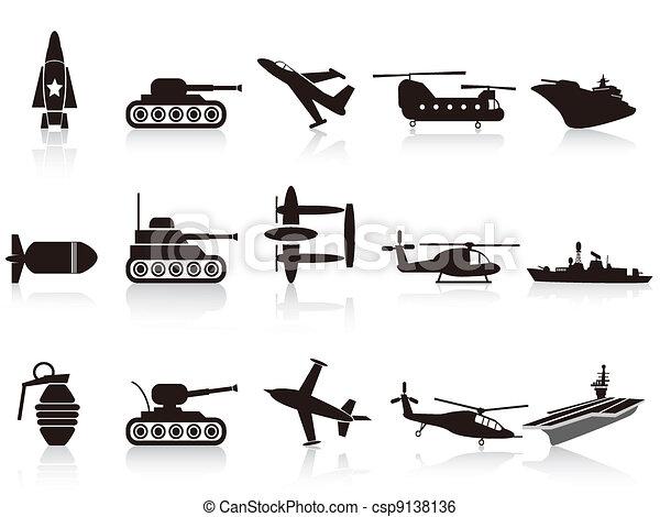 black war weapon icons set - csp9138136