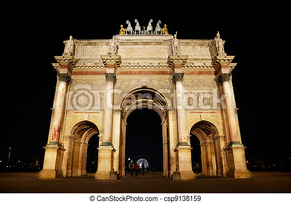 Arc de Triomphe at the Place du Carrousel in Paris in the night. - csp9138159