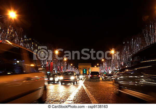 View on the Arc de Triomphe from the Champs Elysees. Focused on the Arc. - csp9138163