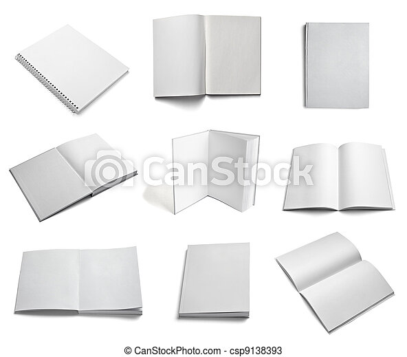 leaflet notebook textbook white blank paper template - csp9138393